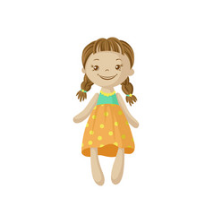 cute smiing soft doll with braids sewing toy vector image