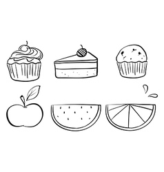 Doodle sets of different foods vector image