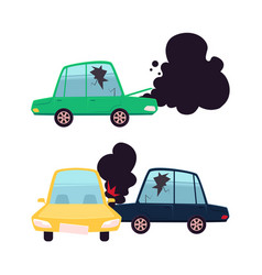 Flat cartoon car crash accident set vector