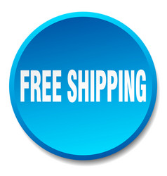 Free shipping blue round flat isolated push button vector