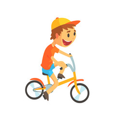 Funny little boy in yellow baseball cap riding vector