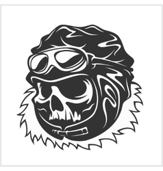 Hell pilot - skull with helmet and glasses vector