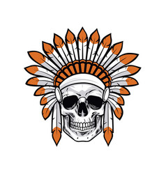 Indian native american skull vector