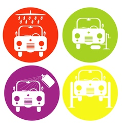Monochrome icon set with auto repair cleaning and vector