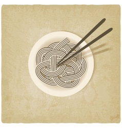 Noodles on plate old background vector