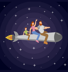 on a rocket flies a family of man woman and child vector image