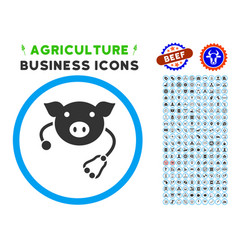 Pig veterinary rounded icon with set vector