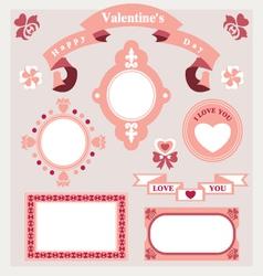 Pink love set ornament vector