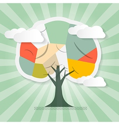 Retro Paper Tree with Clouds vector image