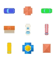 Roof icons set cartoon style vector