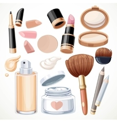 Set of cosmetics bjects cream face powder vector