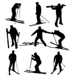 ski silhouettes vector image vector image