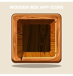 square Wooden box app icons vector image vector image