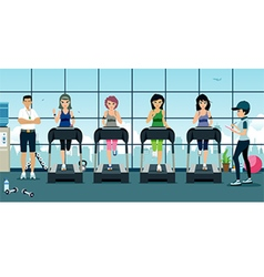 Treadmill in gym vector image