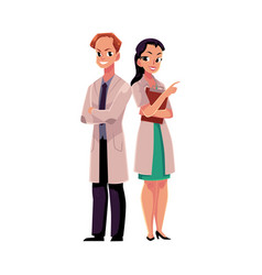 Two doctors in medical coat arms folded pointing vector