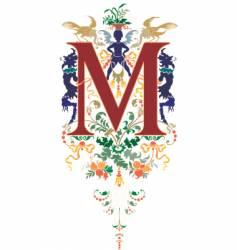 vintage letter m vector image vector image