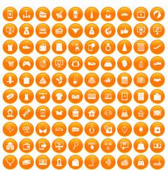 100 online shopping icons set orange vector image