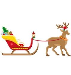 christmas santa sleigh 04 vector image