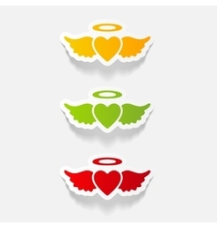 Realistic design element heart angel vector