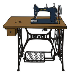 Vintage treadle sewing machine vector