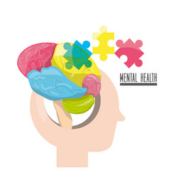 Human silhouette with abstrac brain puzzle vector