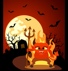 Halloween background with devil and full moon vector