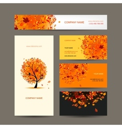 Business cards collection with autumn tree design vector