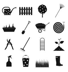 16 garden plain icons set vector