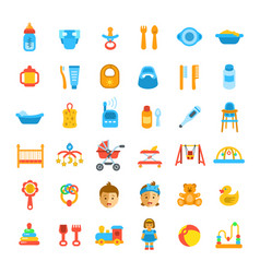 Baby care flat icons vector