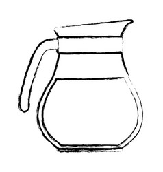 Rounded glass jar of coffee with handle monochrome vector