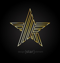 Beautiful gold star made of thin lines on black vector