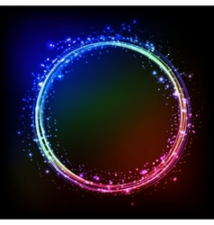 Abstract dark background with color light frame vector