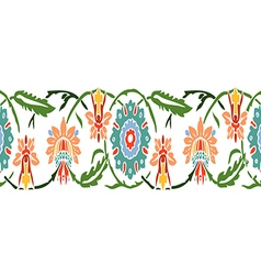 Colorful vintage wildflowers border floral vector