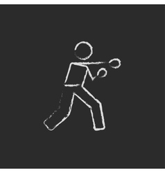 Boxing man icon drawn in chalk vector