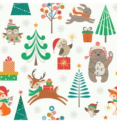 Christmas patter with cute animals vector