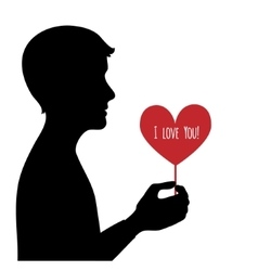 Black silhouette of man with heart in hand vector