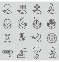 Charity and donation line icons set vector