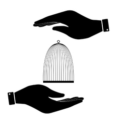 Cage in hand icon vector