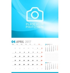 April 2017 wall monthly calendar for 2017 year vector
