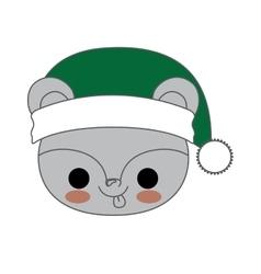 Kawaii animal style with christmas theme isolated vector