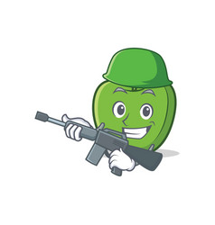 Army green apple character cartoon vector