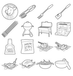 Barbecue tools icons set outline style vector