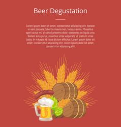 Beer degustation poster of wooden casks vector