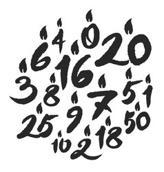 calligraphy birthday candles numbers vector image