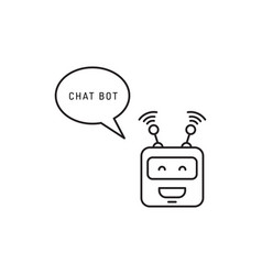 Chatbot face outline icon vector