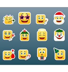Christmas vacation smile stickers set vector
