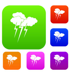 Cloud with lightnings set collection vector