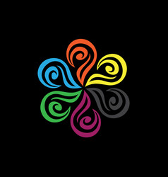 color flower logo vector image vector image