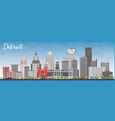 Detroit skyline with gray buildings and blue sky vector