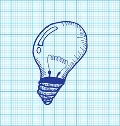 drawing of light bulb on graph paper vector image vector image